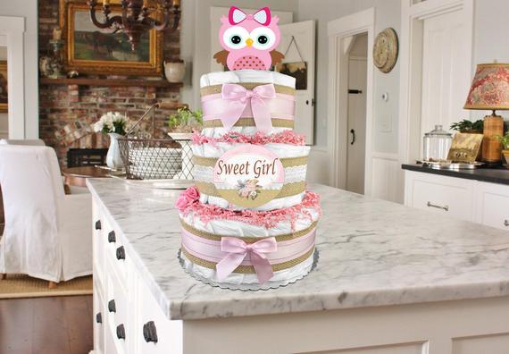 Owl Diaper Cake Baby Shower Gift for a Girl Sweet | Etsy