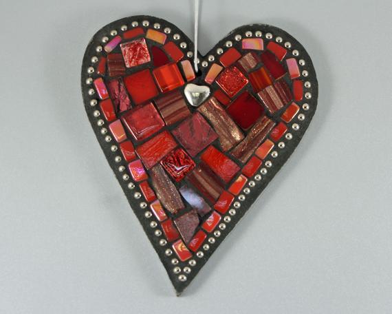 Red Heart Ornament Mosaic Wall Art Romantic Valentine Gift | Etsy