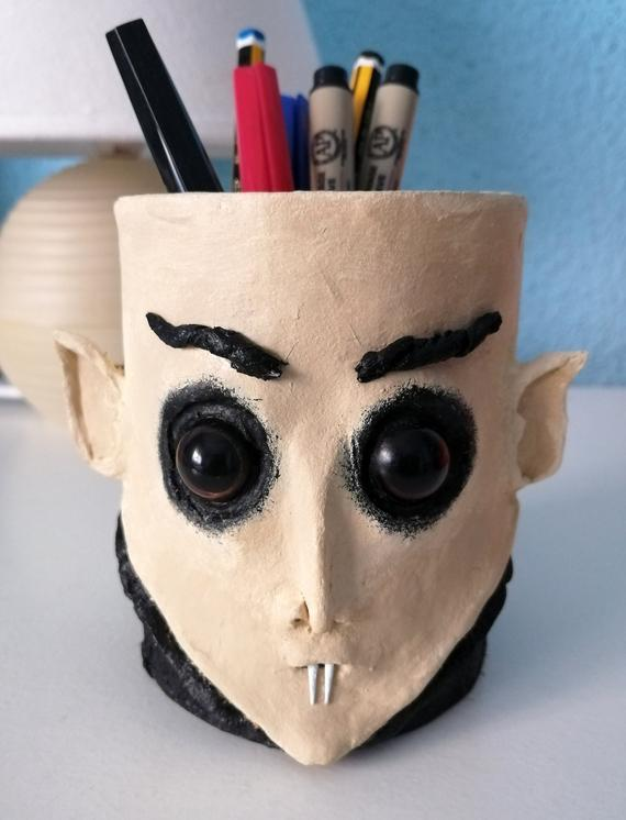 Nosferatu pencil holder. Handmade Count Orlok pen holder. | Etsy