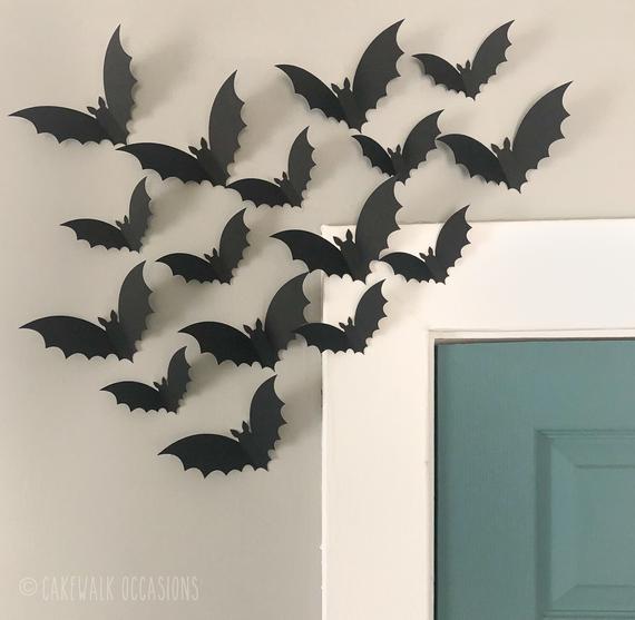 Halloween Bats Black Flying Bats 3D Wall Bats Halloween | Etsy