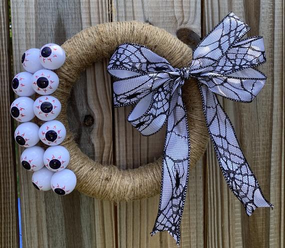 Halloween Wreath Eyeball Wreath Twine Wreath | Etsy