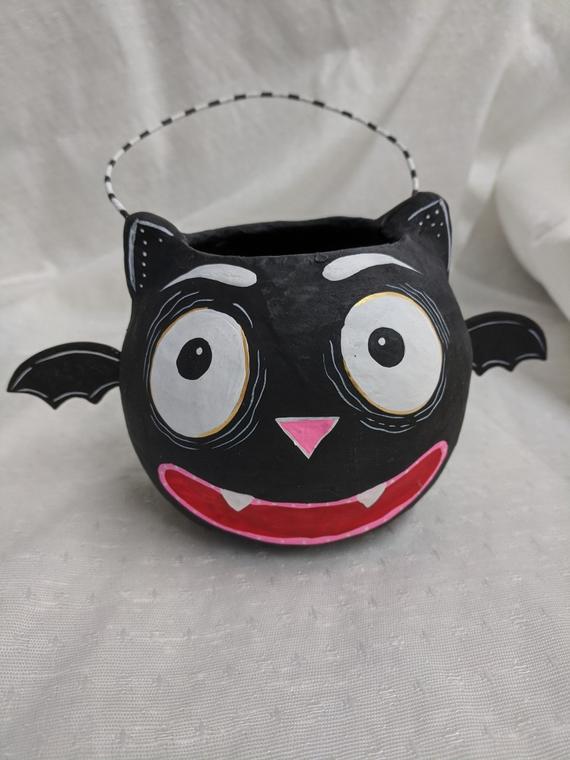 1st Paper Mache Baby Bat Glitterville Jack O'Lantern | Etsy