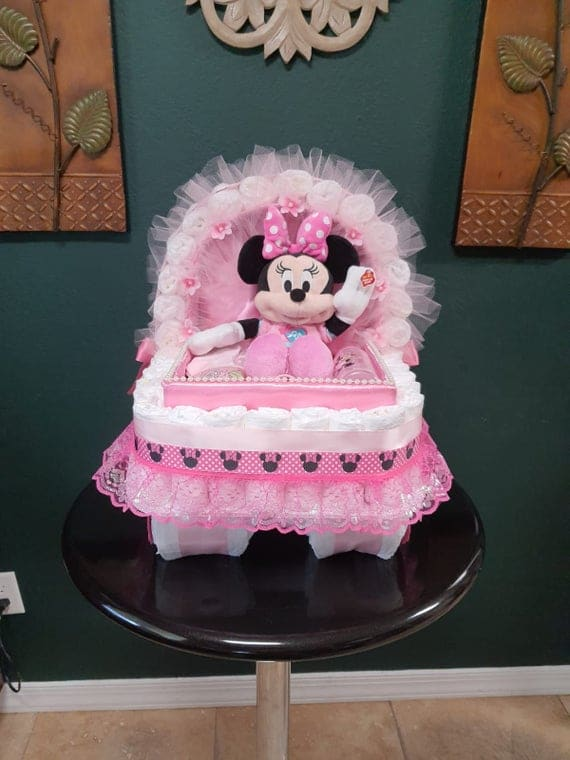 Minnie Mouse animated Baby Gift Diaper Cake Carriage Bassinet | Etsy