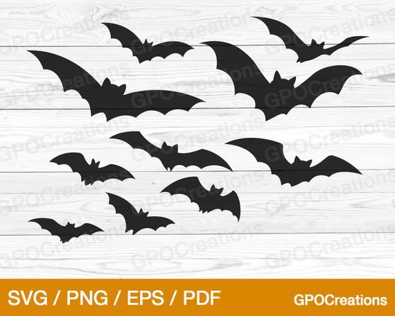 Halloween Bats SVG Spooky Bats SVG Bats Clipart Bats PNG | Etsy