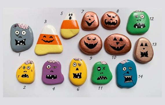 Halloween Painted Rocks Your Choice Zombie Painted Rocks | Etsy