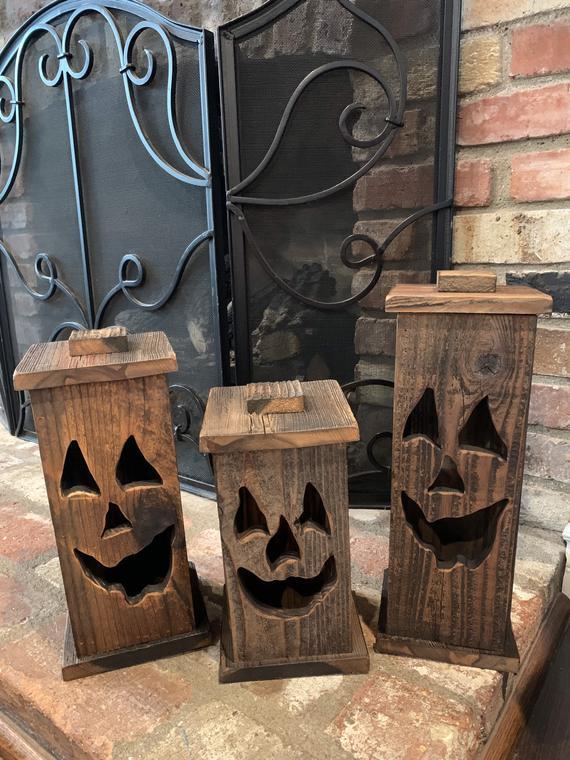 Rustic Wood Pumpkin Lantern Trio | Etsy