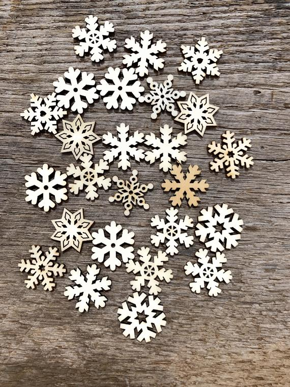 25 SMALL Snowflake Wood Christmas Ornament Supplies DIY Wooden | Etsy