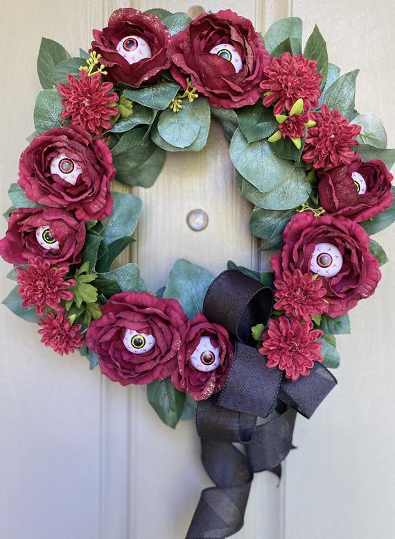 Halloween Gothic Creepy Eyeball Flower Wreath Door And Wall | Etsy