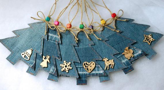 Upcycled Denim Hanging Christmas Tree Ornaments Handmade | Etsy