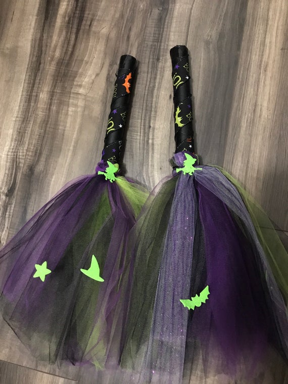 Small Tulle good Witch broom childs witch broomstick childs | Etsy