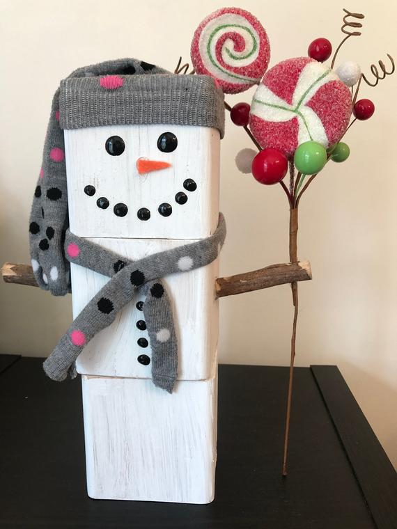 Wood Block Winter Wonderland Snowman Decorations | Etsy