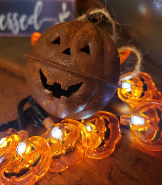 Rustic metal pumpkin metal pumpkin bell primitive pumpkin | Etsy