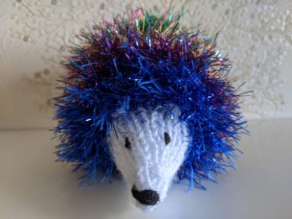 Sparkly Rainbow Hand Knitted Tinsel Hedgehog | Etsy