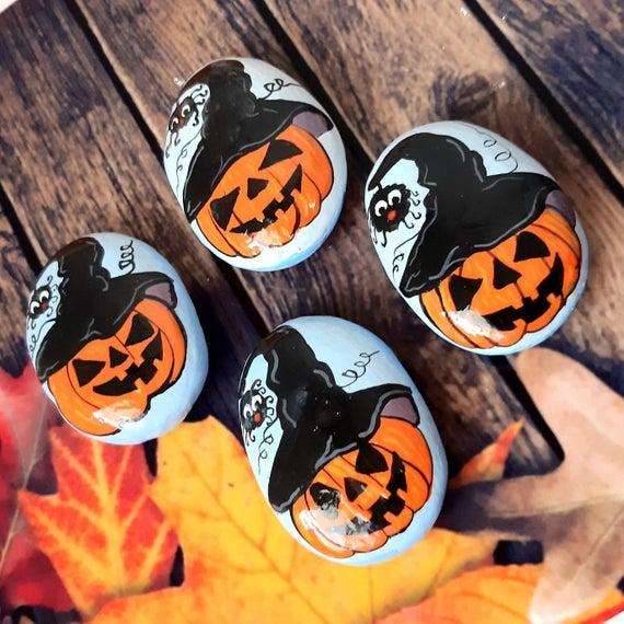 Halloween hand painted rocks Beach rocks art Jack | Etsy
