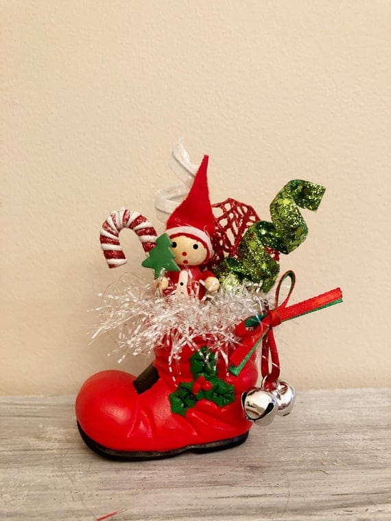 Vintage Santa Boot Decoration | Etsy