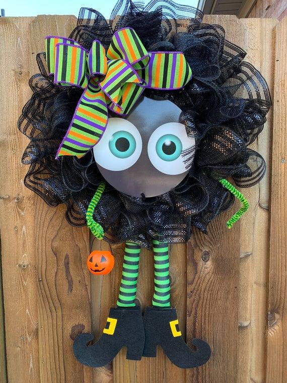Halloween Cute Monster Wreath Halloween Wreath Trick or | Etsy