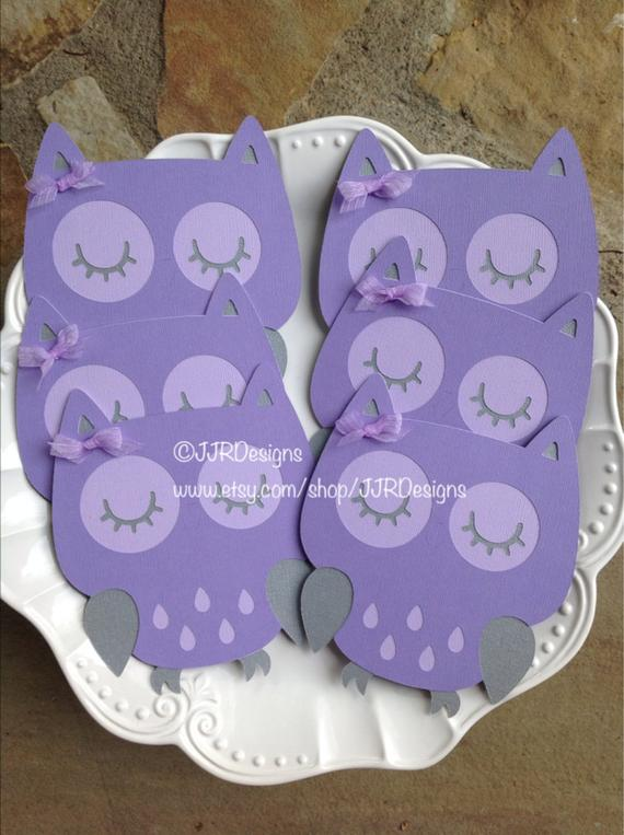 Owl Cut Outs Lavender Owl Owl Die Cut Purple/Gray Owl | Etsy
