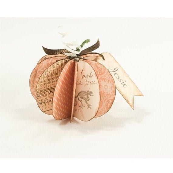 Paper Pumpkin Rustic Halloween Fall Decor Digital Collage | Etsy