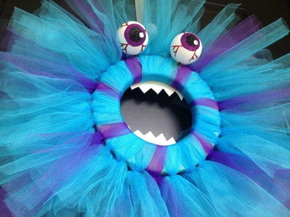 Monster Halloween Wreath with foam eyes and teeth-Choose your | Etsy