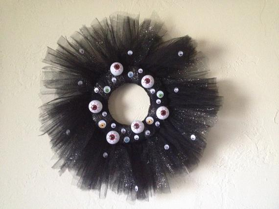 Halloween Eyeball Black and Glitter Tulle Wreath with Assorted | Etsy