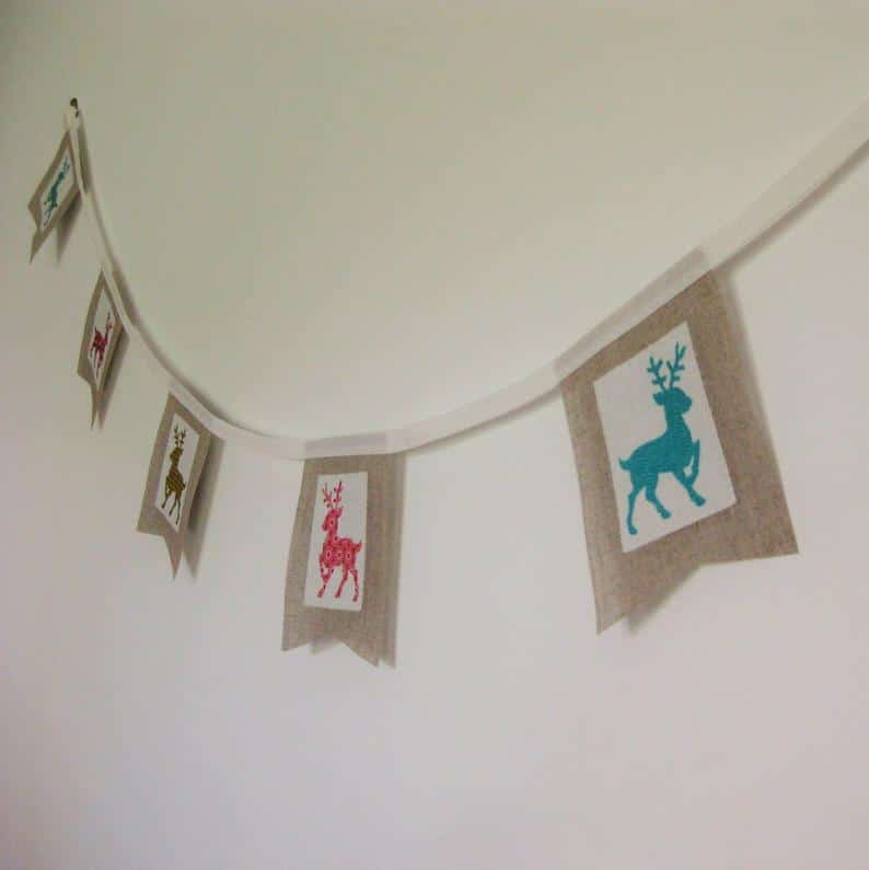Christmas Bunting, Holiday Banner, Reindeer Burlap Decoration