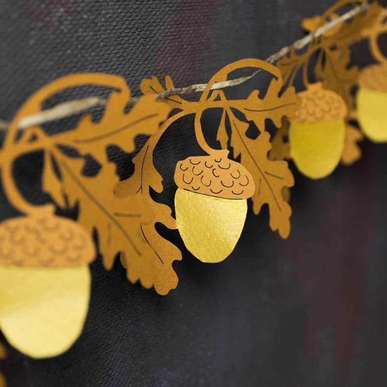 Gold acorn and oak leaf paper garland