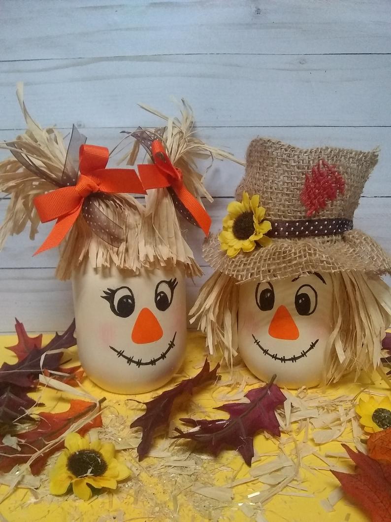 Autumn Gift Scarecrow Mason Jar