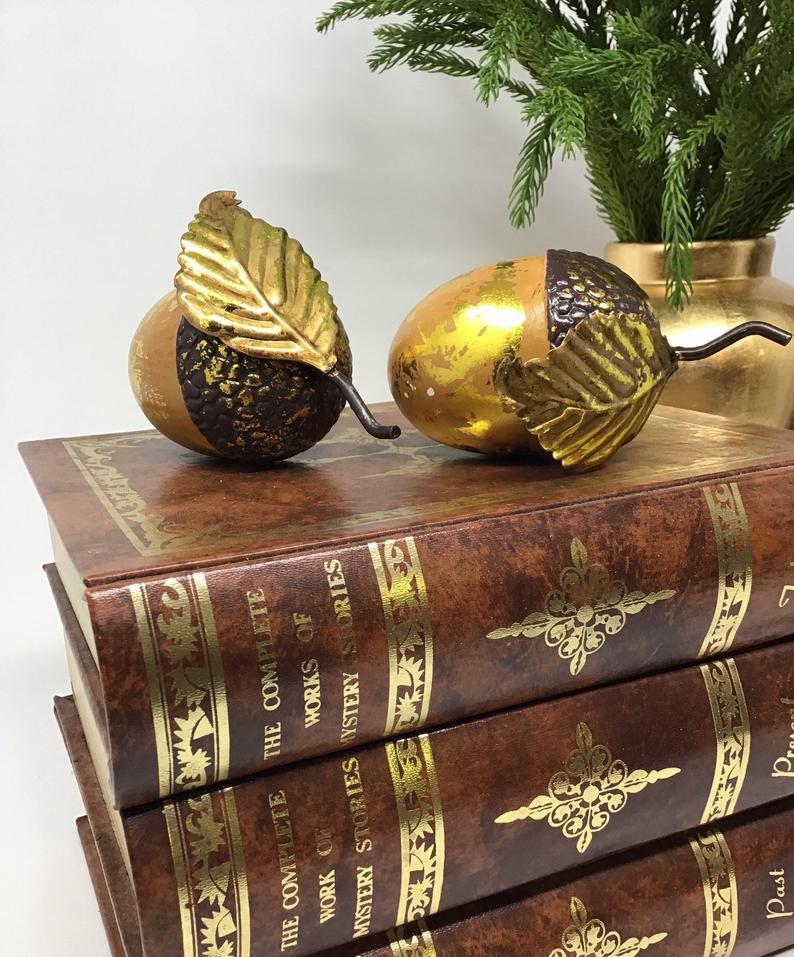 Vintage Gold Gilted Acorn Ornament Gold leaf acorn.