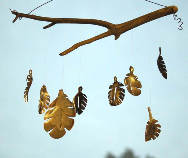 Garden Leaf Wind Chime, Up-cycled From Antique Silver Spoons.