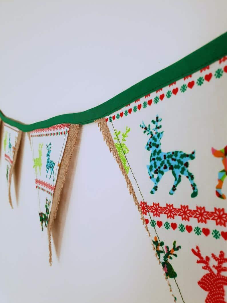 Reindeer Christmas Bunting | Handmade
