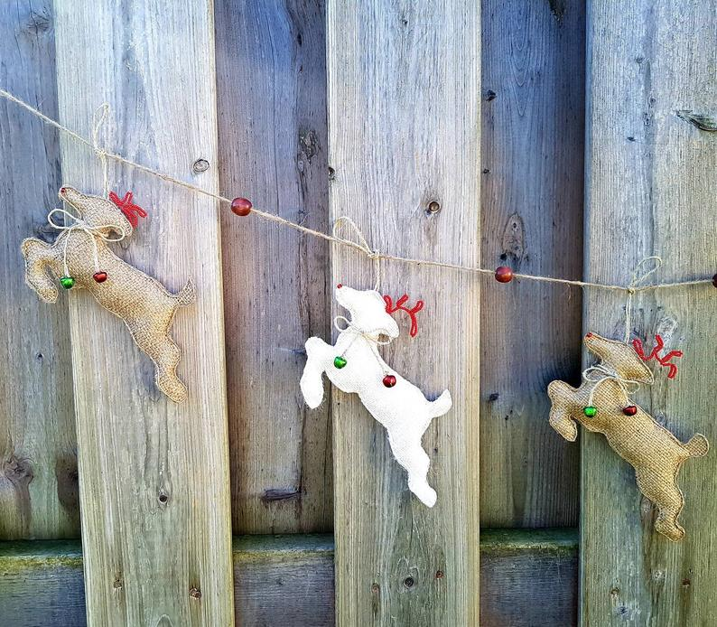 Rustic REINDEER Garland, Set of 5, Farmhouse Christmas Decor