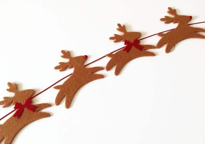 Rudolph Reindeer Garland, Felt Christmas Bunting