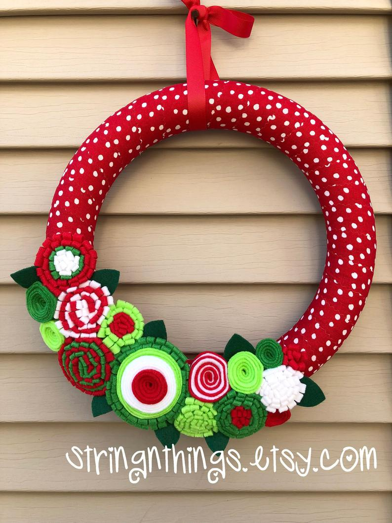 Christmas Wreath - Felt Flower Wreath - Holiday Wreath
