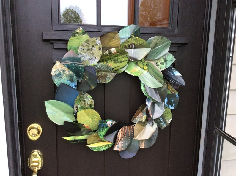 """Book Page Magnolia Large 17"""" or 24"""" Handmade paper wreath wall decor"""