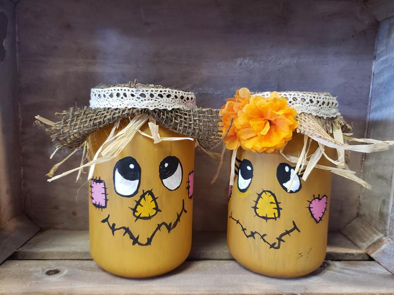 Scarecrows Mason Jars Hand Painted
