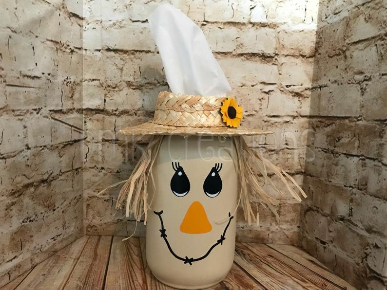 Mason Jar Scarecrow Tissue Holder