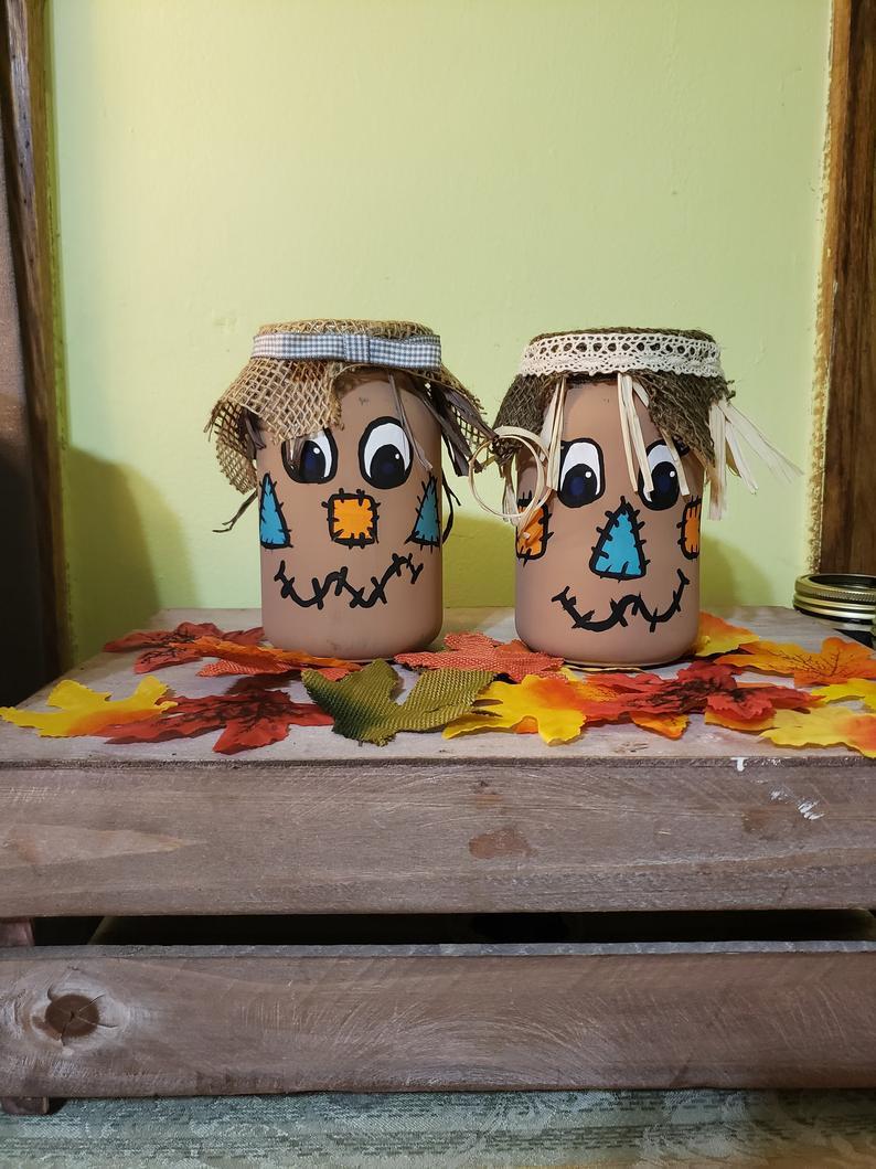 Scarecrow Mason Jars Hand Painted