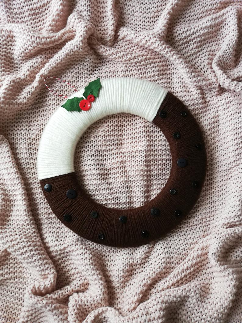 Christmas pudding wreath, christmas decorations