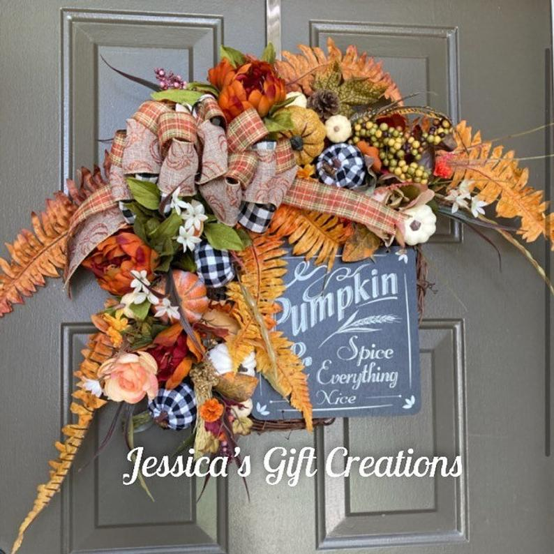 NEW MadetoOrder Fall Grapevine Wreath/Pumpkin Spice Wreath