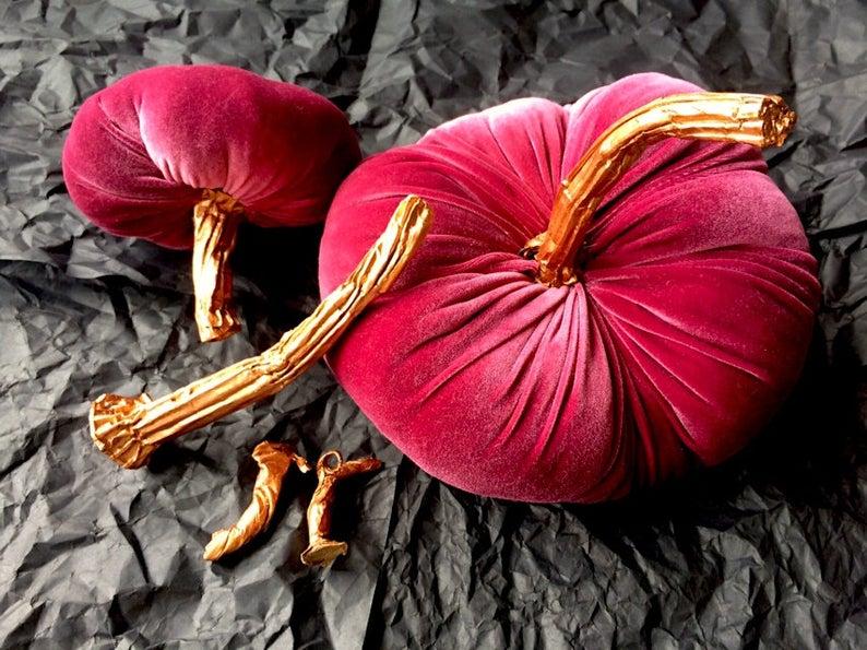 Gold Pumpkin Stems for Handmade Fabric Pumpkins, Pumpkin Stems