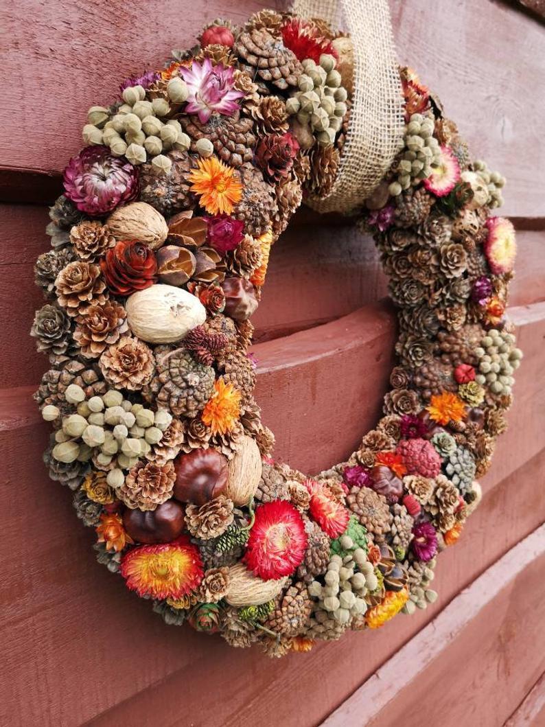 Fall Wreath, Natural Dried Wreath, Floral Wreath