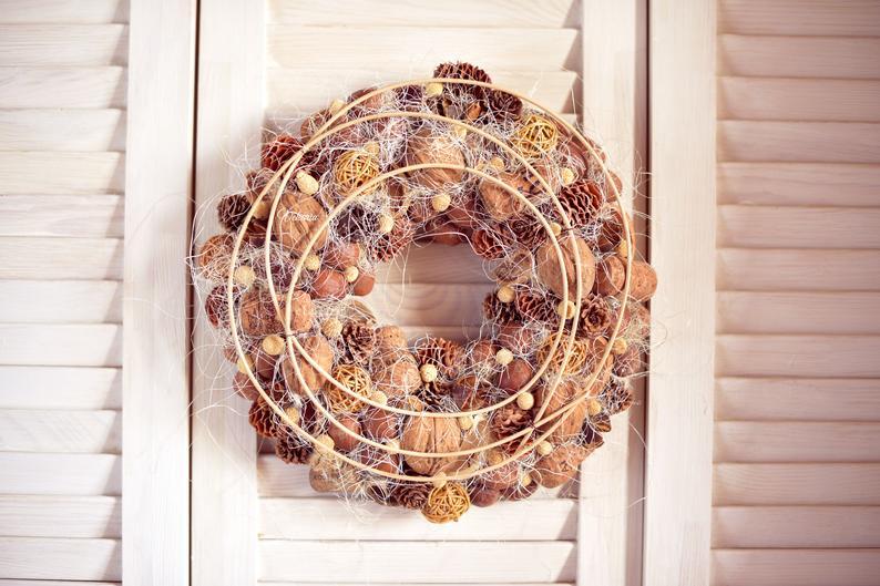 Natural pine cone wreath, Rustic front door decor,