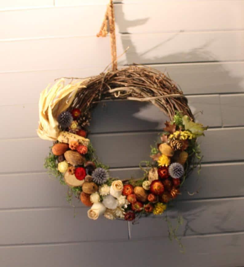 Autumn Witch Wreath, Dried flower wreath, natural wreath