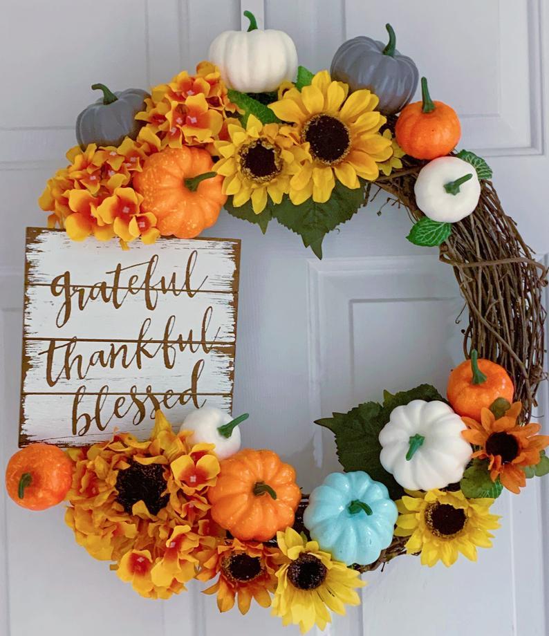 Sunflower Wreath, Pumpkin Wreath, Thanksgiving Wreath