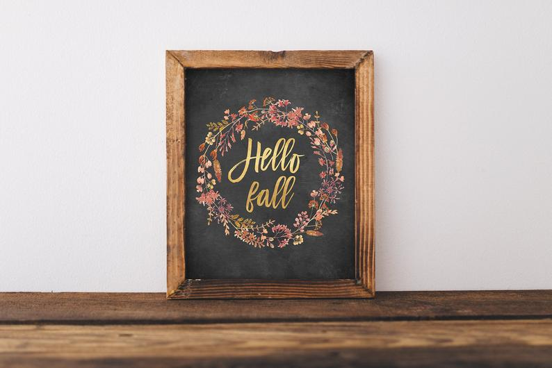 Hello Fall Print, Hello Fall Printable Wall Art