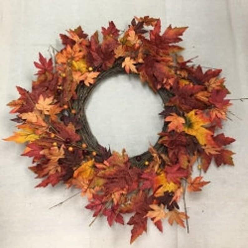"24"" Fall Leaves Wreath/Fall Wreath/Natural Wreath"
