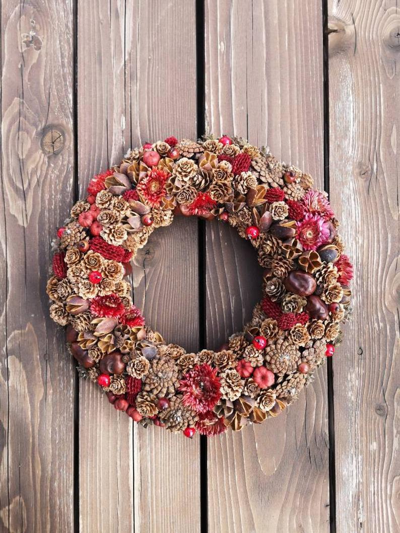 Fall Wreath, Cones Wreath, Flowers Wreath