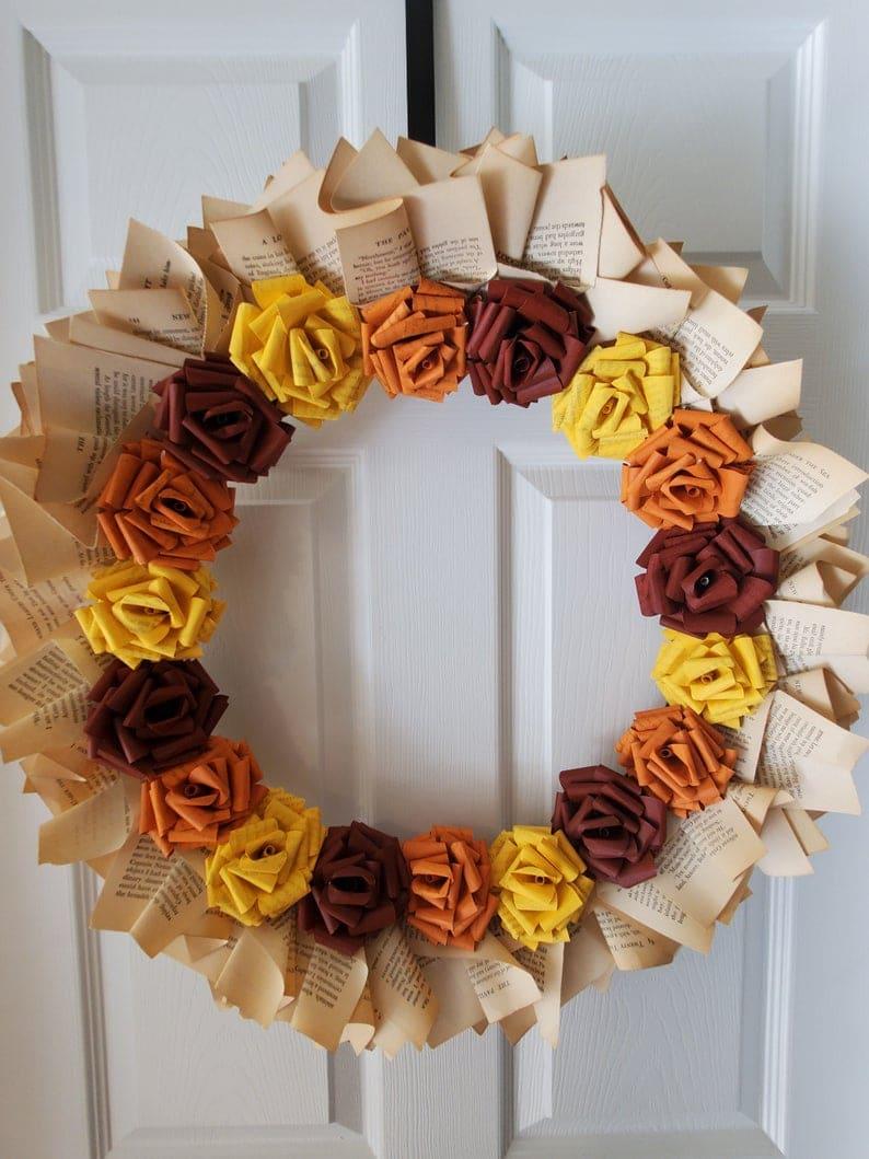 Fall Book Page Wreath, Indoor Fall Wreath