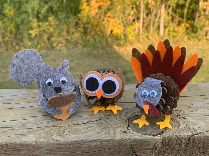 Pine Cone Kid's craft pattern - full pattern and tutorial to make a set of animals