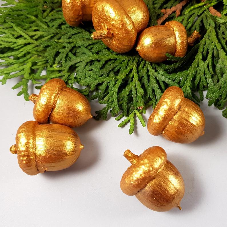 Golden oak acorns Hand Painted Set of 30